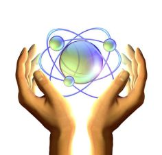 hands with atom model